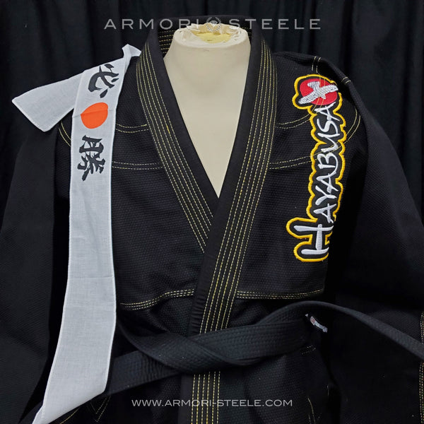 GEORGES ST-PIERRE GSP SIGNED GI JIU-JITSU KARATE UNIFORM HAYABUSA BLACK KIMONO + BLACK BELT + HEAD BAND KIT