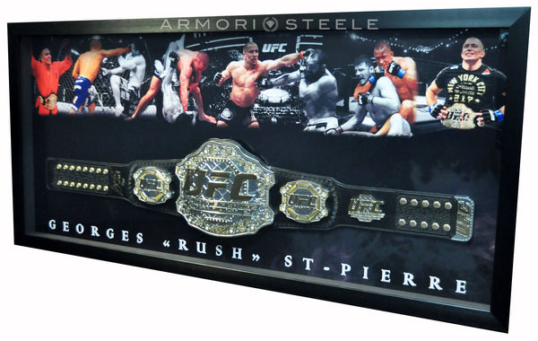 "GEORGES ST-PIERRE GSP SIGNED FRAME BELT REPLICA ""HOF"" INSCRIPTION AUTOGRAPHED LONG FRAME"