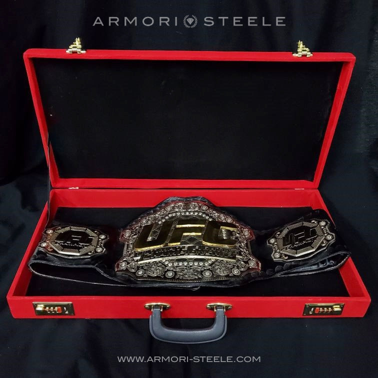 "SUBPAR REFURBISHED SALE: GEORGES ST-PIERRE GSP SIGNED BELT ""HOF"" HALL OF FAME INSCRIPTION REPLICA BELT AUTOGRAPHED"