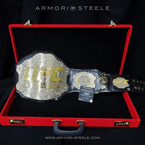 "GEORGES ST-PIERRE GSP SIGNED BELT  ""HOF"" HALL OF FAME INSCRIPTION REPLICA UFC CHAMPIONSHIP AUTOGRAPHED"