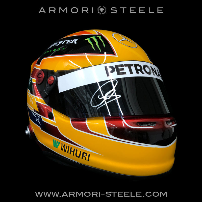 LEWIS HAMILTON SIGNED HELMET VISOR 2017 MERCEDES TRIBUTE AUTOGRAPHED FULL SCALE 1:1 - SOLD