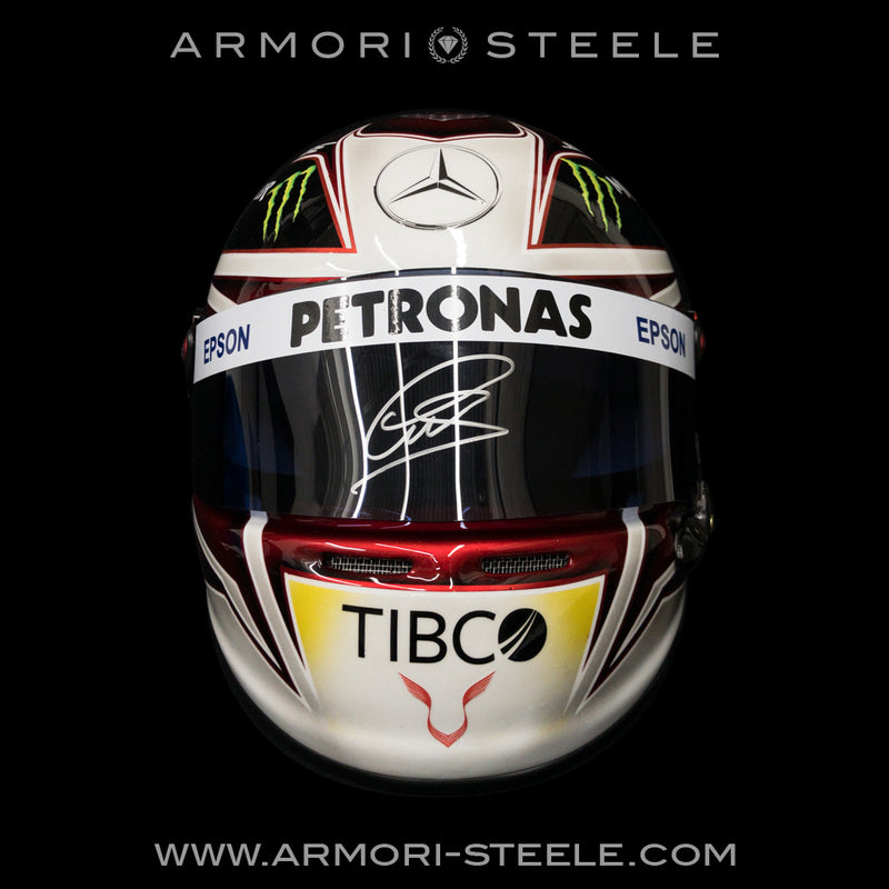 LEWIS HAMILTON SIGNED HELMET 2019 DARK VISOR MERCEDES TRIBUTE AUTOGRAPHED FULL SCALE 1:1 - SOLD