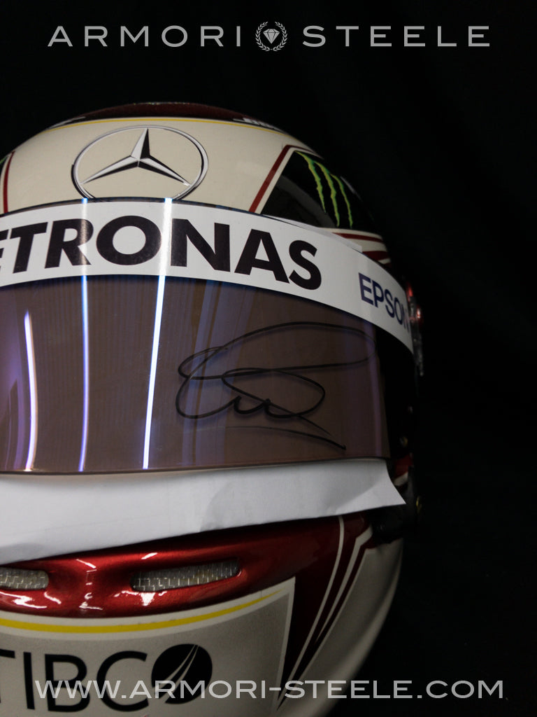 LEWIS HAMILTON SIGNED HELMET 2019 SEMI-CLEAR VISOR MERCEDES TRIBUTE AUTOGRAPHED FULL SCALE 1:1