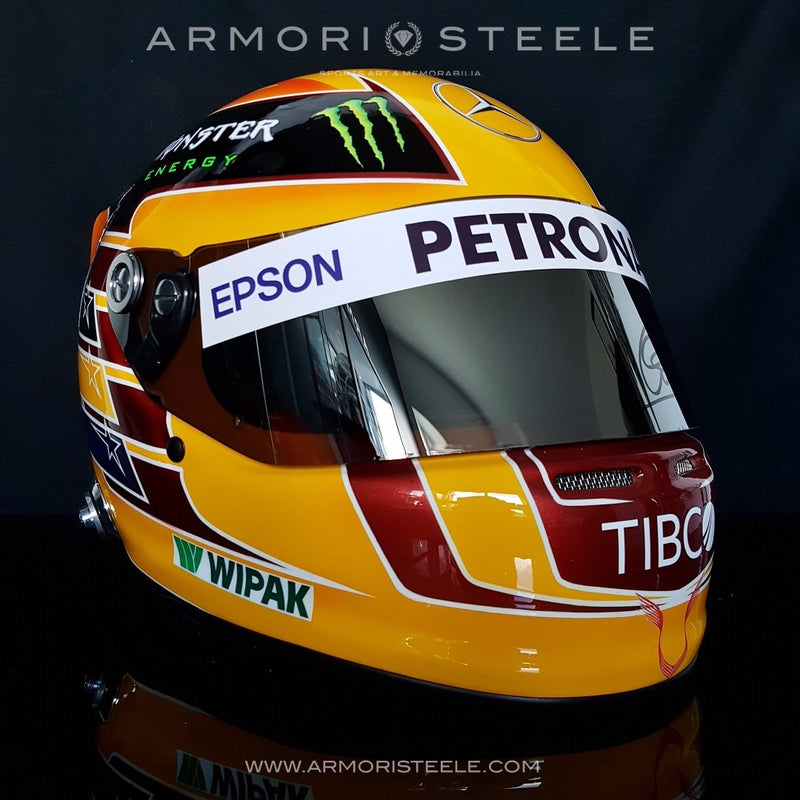 LEWIS HAMILTON 2017 SIGNED AUTOGRAPHED YELLOW F1 HELMET FULL SIZE 1:1 SCALE DISPLAY HELMET - SOLD