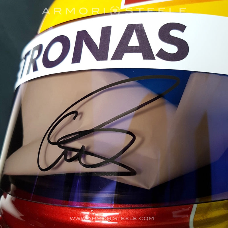 LEWIS HAMILTON 2017 YELLOW SIGNED AUTOGRAPHED F1 HELMET FULL SCALE DISPLAY EDITION - SOLD