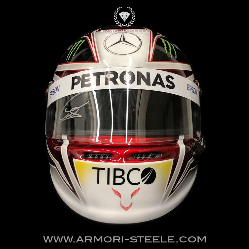 LEWIS HAMILTON 2019 SIGNED CLEAR HELMET VISOR MERCEDES TRIBUTE AUTOGRAPHED FULL SCALE 1:1