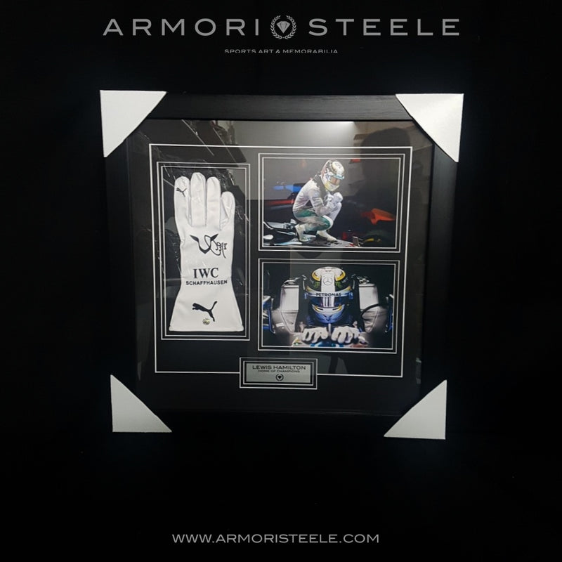 "Lewis Hamilton Signed Autographed F1 Right Glove Replica ""2018"" Inscription Fully Wood Framed"