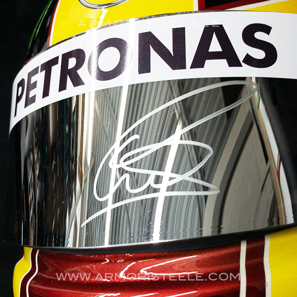 LEWIS HAMILTON 2017 SIGNED HELMET YELLOW MIRRORED VISOR MERCEDES TRIBUTE 1:1 FULL SCALE
