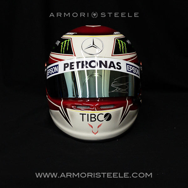 LEWIS HAMILTON 2019 SIGNED HELMET WHITE MIRRORED VISOR MERCEDES TRIBUTE 1:1 FULL SCALE