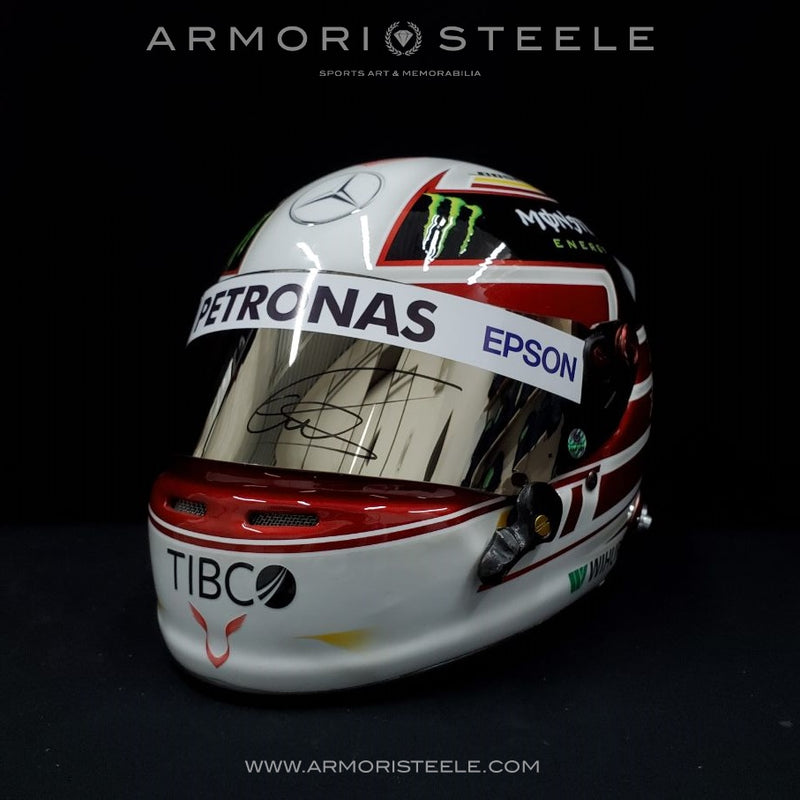LEWIS HAMILTON SIGNED AUTOGRAPHED F1 HELMET  WHITE 2018 FULL SCALE DISPLAY EDITION - SILVER MIRRORED VISOR - SOLD