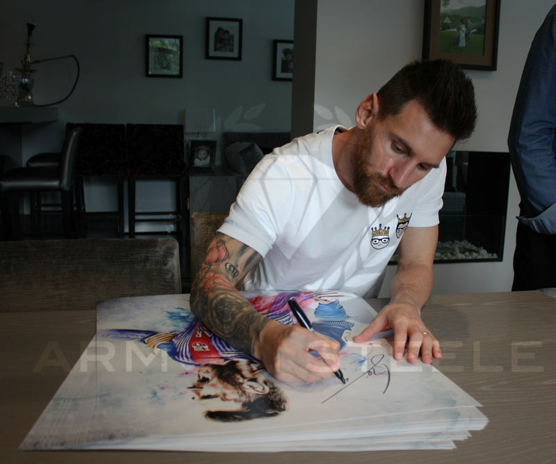 """FUEGO"" LIONEL MESSI SIGNED SPORTS ART PRINT BY ARTIST SHAUN KELLY - FRAMED (32 X 28"") LIMITED EDITION OF 10"