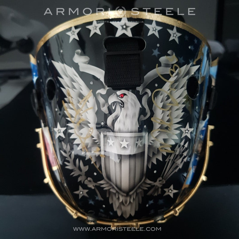 """AMERICAN GLORY"" GOALIE MASK SIGNED BY HENRIK LUNDQVIST & MIKE RICHTER 
