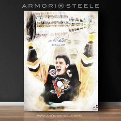 """LE MAGNIFIQUE"" MARIO LEMIEUX SIGNED SPORTS ART CANVAS BY ARTIST SHAUN KELLY - LIMITED EDITION OF 6 GALLERY PRINTS (24 X 32)"