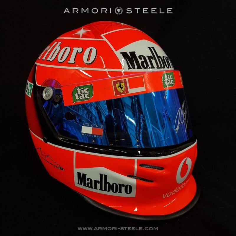 Michael Schumacher Signed 2004 Helmet Ferrari Tribute Autographed Hologram Mirrored Visor Full Scale 1:1
