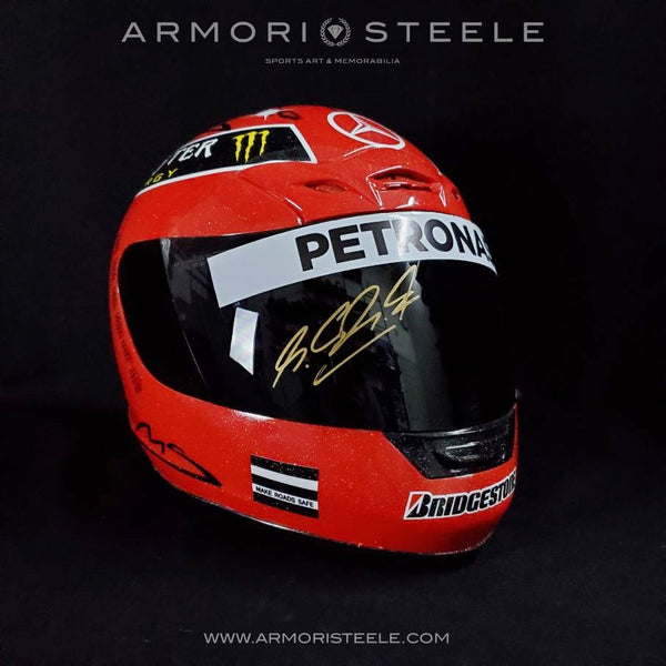 MICHAEL SCHUMACHER 2011 SIGNED AUTOGRAPHED DISPLAY F1 HELMET 1:1 FULL SCALE DISPLAY - MERCEDES