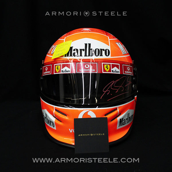MICHAEL SCHUMACHER 2004 SIGNED HELMET RED AUTOGRAPH VISOR FERRARI TRIBUTE 1:1 FULL SCALE