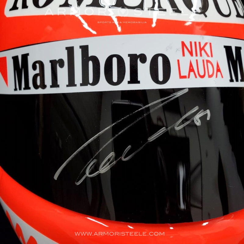 NIKI LAUDA 1977 SIGNED AUTOGRAPHED TRIBUTE HELMET F1 DISPLAY EDITION - WHITE AUTOGRAPH - SOLD