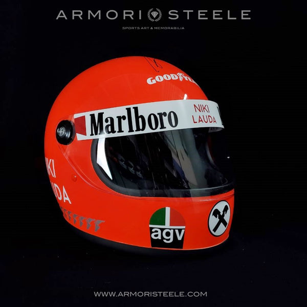 NIKI LAUDA SIGNED HELMET DIRECT AUTOGRAPH 1975 FERRARI EXTREMELY RARE FULL SIZE 1:1