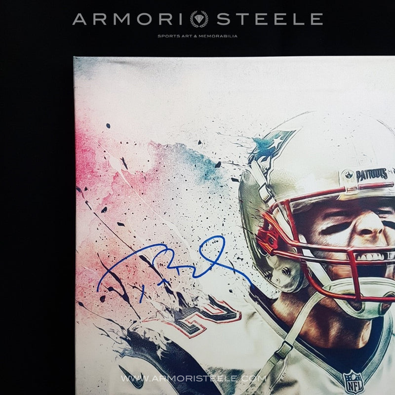 """TOM BRADY"" SIGNED AUTOGRAPHED SPORTS ART CANVAS BY ARTIST MATTHEW SHARPE - LIMITED EDITION OF 12 (24 X 32"") - SOLD OUT"