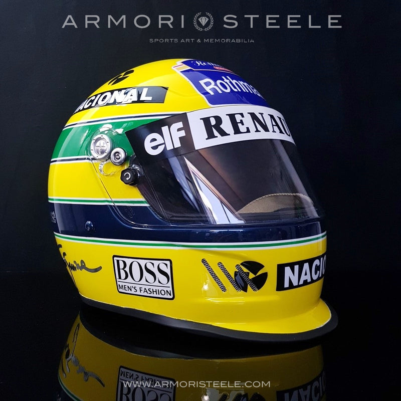 AYRTON SENNA HOMAGE F1 HELMET - DISPLAY HELMET FOR COLLECTORS -  CHROME LETTERING AS EDITION 1/1 - SOLD