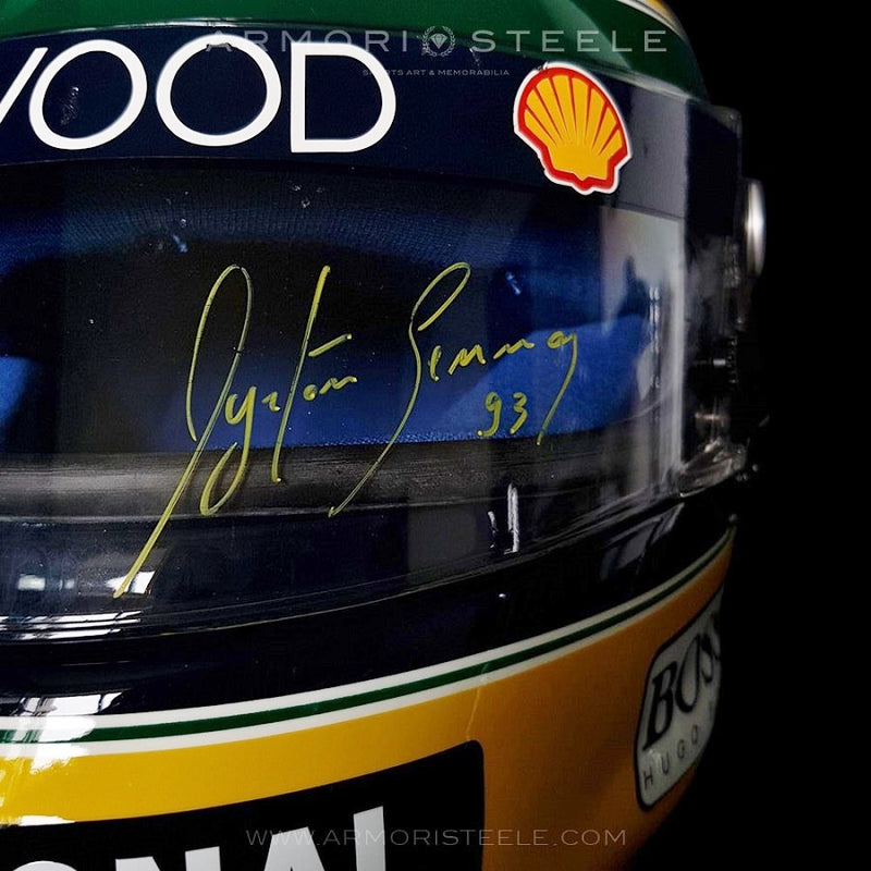 AYRTON SENNA SIGNED HELMET AUTOGRAPHED YELLOW INK SHOEI X4 1993 F1 VISOR PSA/DNA ASA CERTIFICATION - SOLD