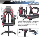Ergonomic Gaming Chair with PU Leather, High Back, Headrest, Adjustable Height and Lumbar Support Black, Red and White