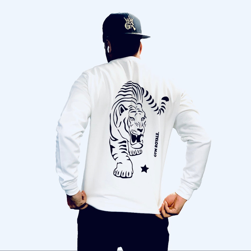 Gym Royale® - Tiger Roar Black on White Sweatshirt