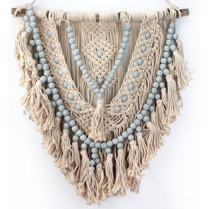 Natural Macrame with Blue Beads