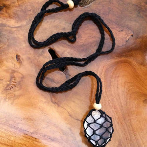 Macrame Crystal Pouch Necklace with Crystal