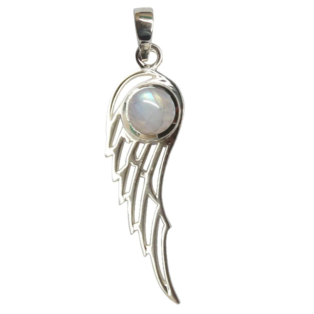RAINBOW MOONSTONE WINGS SILVER PENDANT
