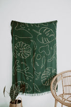 Load image into Gallery viewer, forest green monstera tapestry