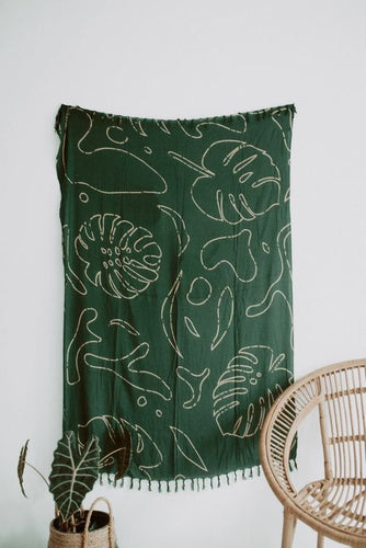 forest green monstera tapestry