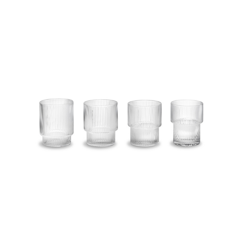 "FERM LIVING - Glas ""Ripple Glasses"" 4er Set in Klar -  - No59 Conceptstore Cologne"
