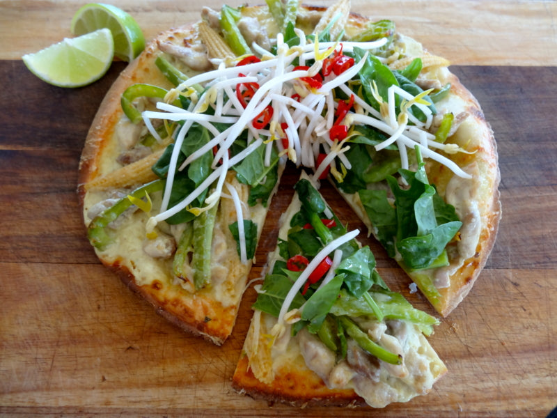 Photo of low FODMAP Thai Green Curry Pizza