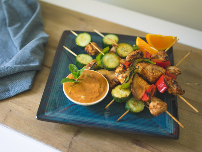 Grilled Chicken Skewers with Spiced Orange & Mint Sauce