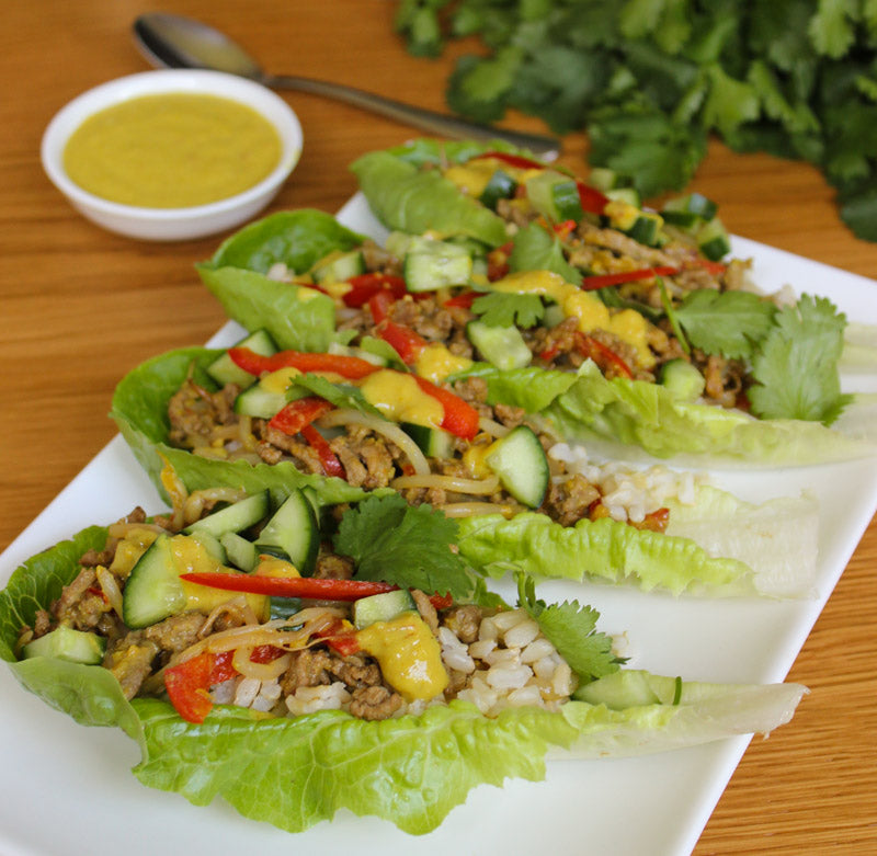 Photo of low FODMAP Beef Satay Lettuce Cups