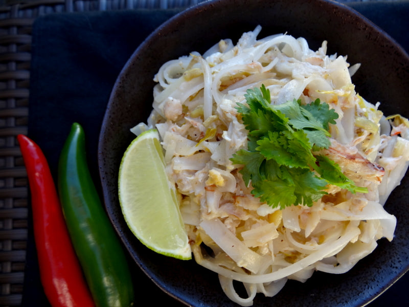 Photo of low FODMAP Thai Fried Noodles with Crab