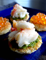 Photograph of low FODMAP king crab and caviar toasts