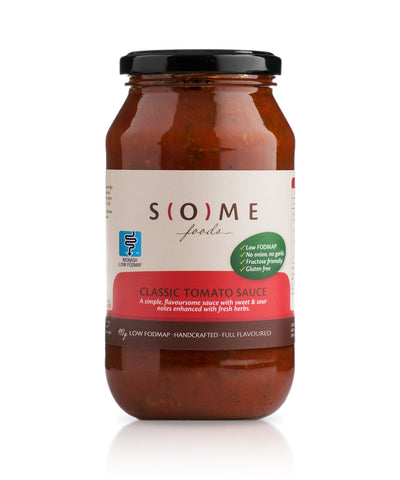 Certified low FODMAP Classic Tomato Sauce jar