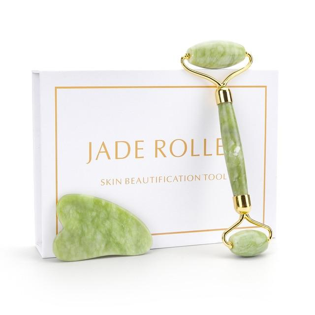 JADE STONE ROLLER & GUA SHA SET - 100% Natural - BODYHEALTHTODAY