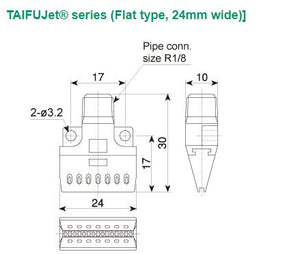 Minimal noise and Ultra compact Air Nozzle 1/8M TF-F 24-8-010 PPS- IN