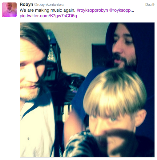 Robyn in the studio with Royksopp