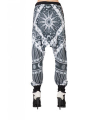 KTZ Sun Moon Print Harem Trousers Back