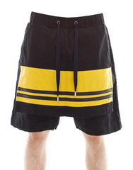 Skingraft Panel Shorts in Black and Yellow