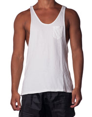 Bleach White Cutout Tank - Mens Singlet