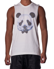 Bleach Panda Bear Cutout Tank - White Mens Tank with print