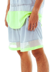 Bleach Mesh Panel Basketball Shorts Neon Grey Side