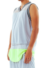 Bleach Mesh Panel Basketball Jersey Neon Grey Side