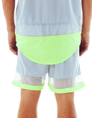 Bleach Mesh Panel Basketball Shorts Neon Grey Back