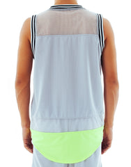Bleach Mesh Panel Basketball Jersey Neon Grey Back